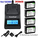 Kastar Fast Charger and Battery (4-Pack) for Sony NP-FW50, NPFW50 and Alpha 7, a7, a7R, a3000, a5000, a6000, NEX-3, NEX-5, NEX-6, NEX-7, NEX-C3, NEX-F3, SLT-A33, SLT-A35, SLT-A37, SLT-A55V, DSC-RX10
