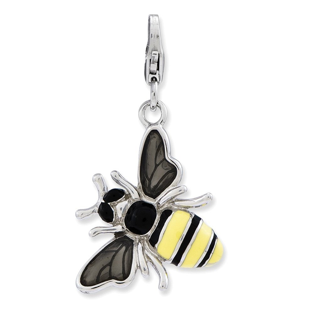 Lex & Lu Sterling Silver Enameled 3-D Yellow Jacket w/Lobster Clasp Charm