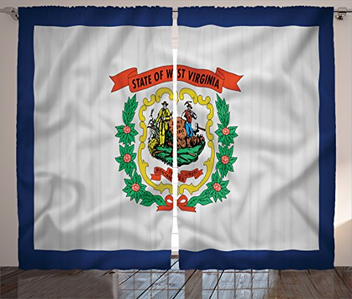(Lunarable American Curtains, West Virginia Flag Two Tethered Swags Mountaineers are Always Free Image Print, Living Room Bedroom Window Drapes 2 Panel Set, 108 W X 96 L Inches,)