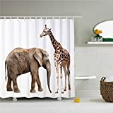 Wings Animal close-up, elephants and giraffe, shower curtains 3D printing - Waterproof, Mildew resistant, Machine Washable - Shower Hooks are Included