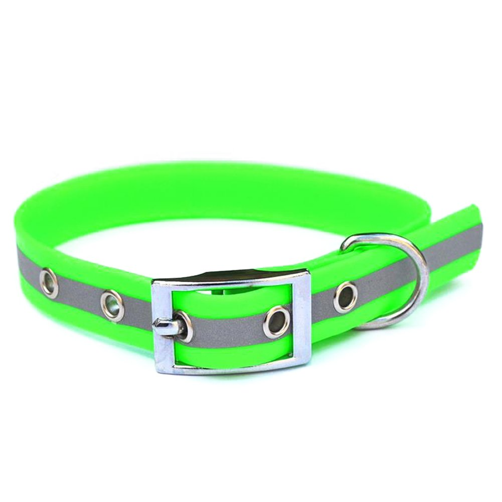 Nuheby Reflective Dog Collar Strap Rubber Waterproof for Small Breed Tiny Dog & Cat Collar (4/5 in. x 18 in, Green)