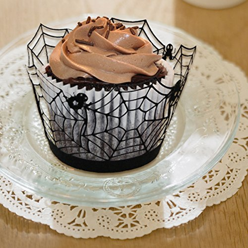 120 Pcs Black Spider Laser Cut Cupcake Wrappers for Halloween Party Cake Decoration ()