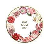 US Gifts Best MOM Ever - 4'' Round Tabletop Plaque (Pack of 2)