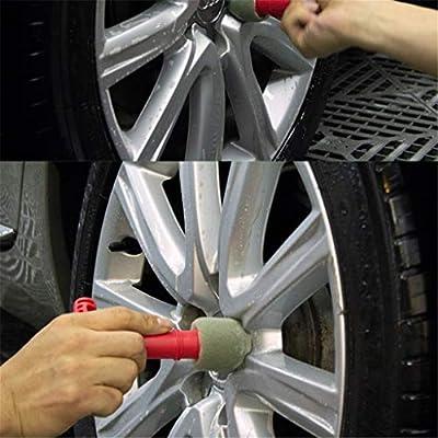 TLT Retail Premium Wheel/Lug Nut Cleaning Brush Car Wheel Brush Wheel Cleaning Detailing Brush With Handle & Removable Insert Sponge: Beauty