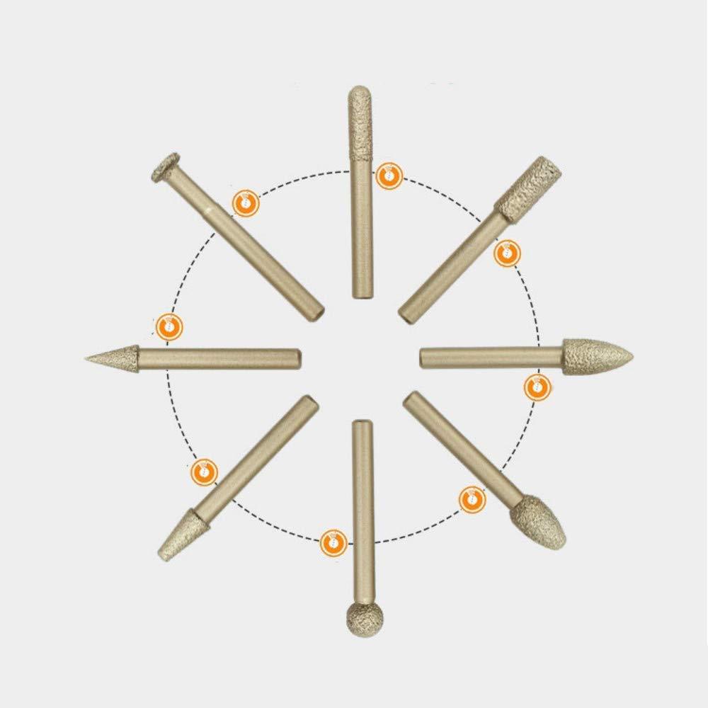 RBH Juego de Fresas de Diamante de 20 Piezas Adecuado para Grabado Pulido Mango de 6 mm Ribete Broca de molienda giratoria Esmerilado Grabado en Madera para Bricolaje