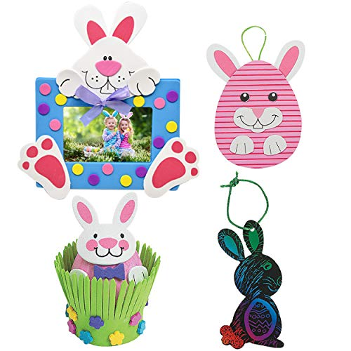 12 Easter Crafts for Kids Children DIY Arts and Crafts Kits Eggs Decorations Kit Includes: 3 Rainbow Magic Scratch Art Ornaments, 3 Bunny Picture Frame, 3 Egg Decorating Craft Kit and 3 Foam Easter Egg Craft