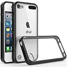iPod Touch 6th Generation Case, Jwest Clear Flexible Soft TPU Bumper PC Back Hybrid Shock Absorption Protective Cover Case for iPod Touch 6/iPod Touch 5 - Black