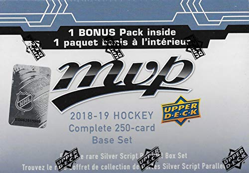 2018 2019 Upper Deck MVP Hockey Series Factory Sealed 250 Card Set Including 50 High Series Shortprints and a Bonus Pack containing Eastern Stars, Western Stars and Rookie Star Formations