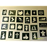 40 Christmas stencils for boys girls glitter tattoos airbrush tattoos walls reindeer snowman santa bell angel