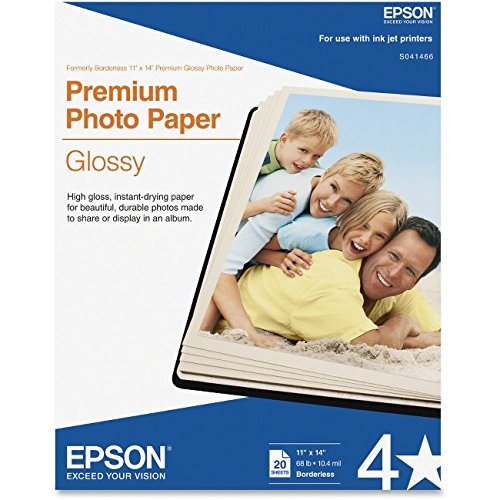 Epson Premium Photo Paper, 68 lbs, High-Gloss, 11 x 14, 20 Sheets/Pack by Epson