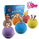 Organic Handmade Bath Bombs with PET SHOP TOYS INSIDE for Kids – Natural and Safe Bombs with Essential Oils – with Toys Inside – Great Gift Set for Boys and Girls – 6 x 5 OZ