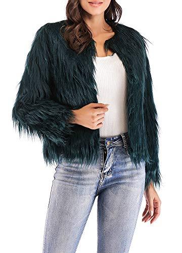 Anself Women's Shaggy Faux Fur Coat Solid Color Long Sleeve Short Jacket Dark Green