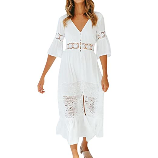 32cdfb9f6137 Longra Women Casual Solid V-Neck Lace Patchwork Button 3/4 Sleeve Split Maxi