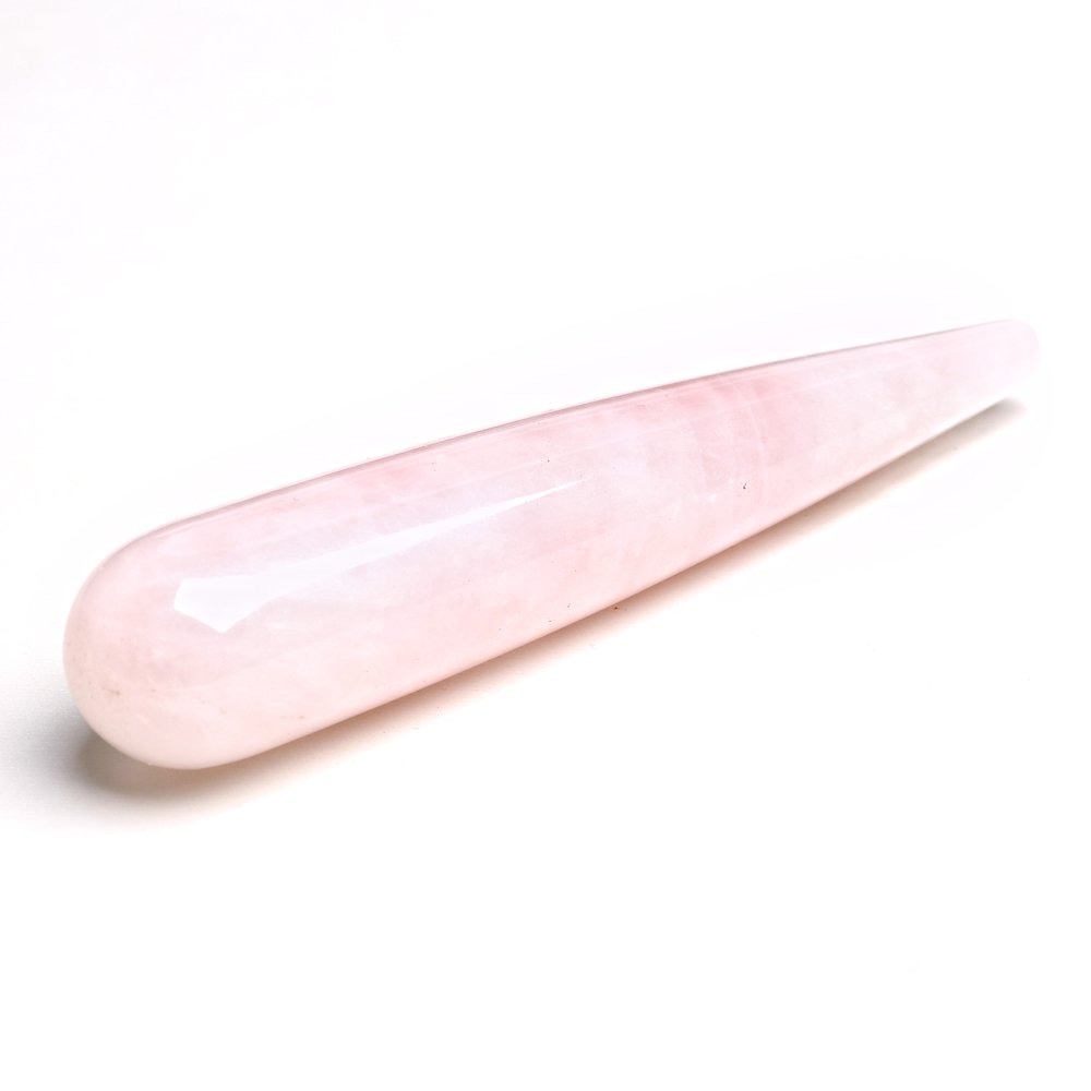 ruhong 11cm Natural Quartz Wand Rose Healing Crystal Point Massage Face Body Healing Exercise Tool Roller Stick Love Stone Healthy Gift