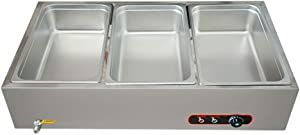 Electric Buffet Server Stainless Steel Food Warmer Tray,Commercial Electric Steam Table for Buffet - Includes Steam Table Pan Cover