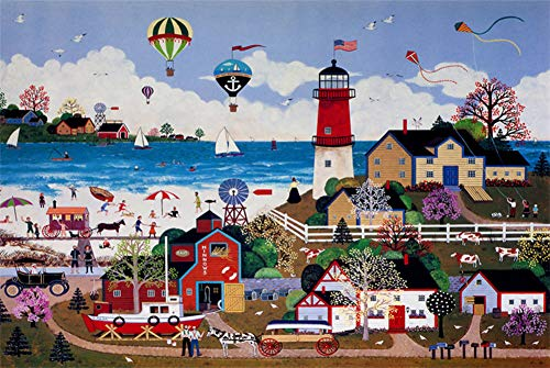 PROW Natural Wood Wooden 500 Piece Puzzle Jigsaw Happy Town Lighthouse Puzzles for Adult Home Wall Decoration Gift, Finished Size 1520Inch