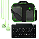 VanGoddy Pindar Messenger Carrying Bag for Lenovo Yoga Tab 3 Pro 10/Tab 3 10.1-inch Tablets + Bluetooth Keyboard + Headphones (Green)