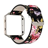 YuKing Replacement Leather Band for Fitbit Blaze,Beautiful Flower Print Soft Leather Replacement Accessory Band Wristband Strap for Fitbit Blaze Smart Fitness Watch (Black+Red)