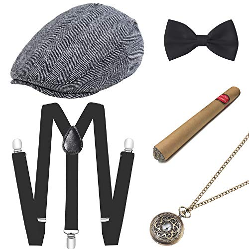 BABEYOND 1920s Mens Gatsby Gangster Costume Accessories Set 30s Manhattan Fedora Hat Suspenders (Set-12) -
