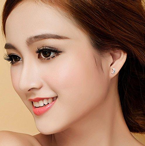 Jin Sheng 925 Silver Plated Moon and Star Earrings for Women Girls Stud Earrings