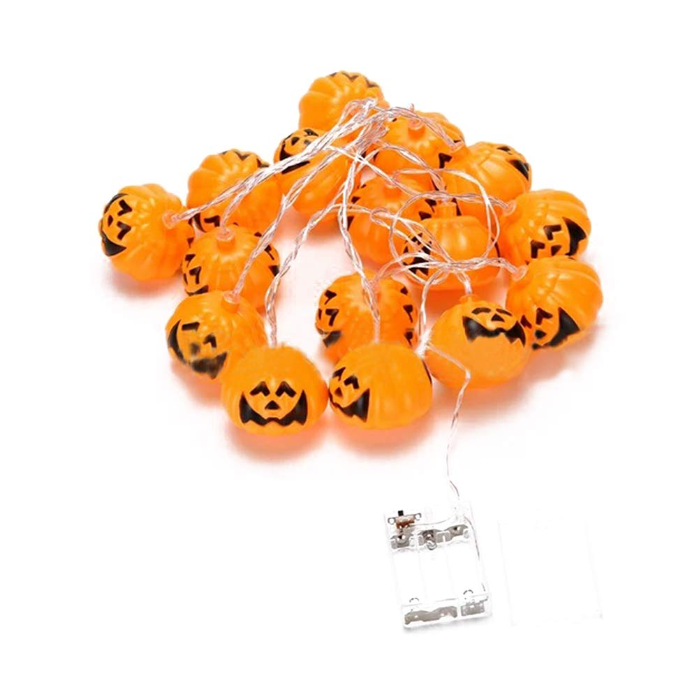Folconauto Halloween Ghost String Decoration Ghost Festival Place Arrangement Glowing Pumpkin Light LED Small Ghost Light String 20LED Without Battery