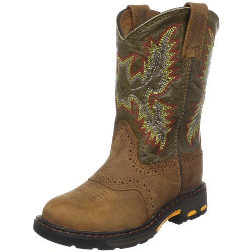 Ariat Workhog Pull-On Western Boot (Little Kid/Little Kid/Big Kid),Aged Bark/Army Green,6 M US Big ()