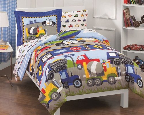 Dream Factory Trucks Tractors Cars Boys 5-Piece Comforter bed sheet Set, Blue Red, Twin