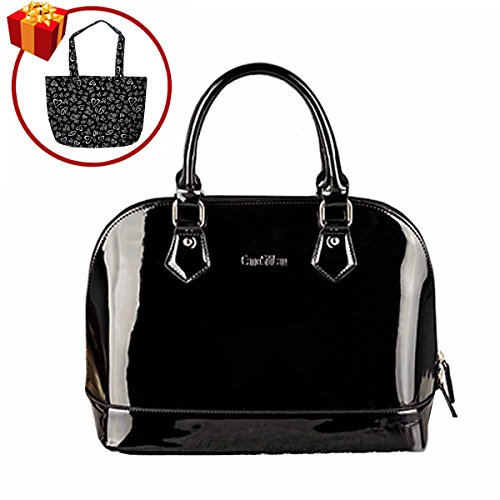 Mily Dome Satchel Handbag Patent Leather Bag Candy Color Jelly Shoulder Bag Tote (New Black Patent Leather)