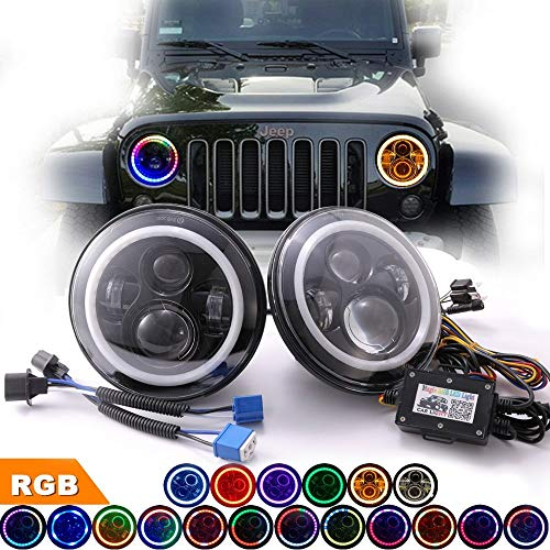 OMUOFFROAD Headlights with Rotating RGB Halo Speech Brightness Adjustment Remote for 1997-2017 Jeep Wrangler JK TJ LJ CJ Sahara Rubicon Willys Hummer H1 H2 ()