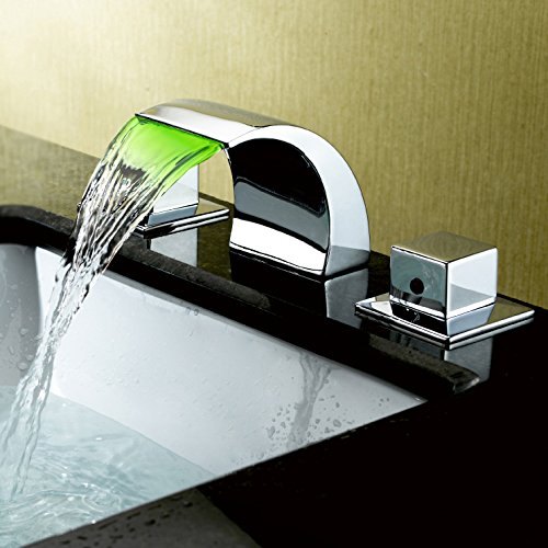 Lovedima Victoria Widespread Waterfall Faucet LED Bathroom Sink Faucet 3-Piece Basin Mixer Tap