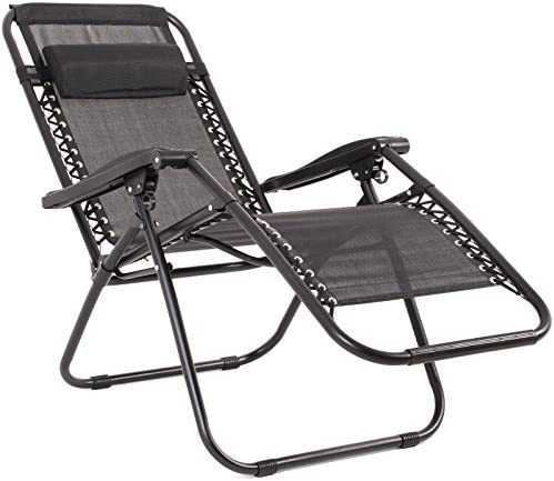 2Pc Black Textoline Zero Gravity Reclining Deluxe Garden Sun Lounger Deck Chairs