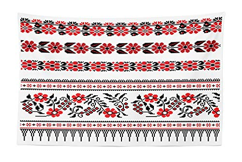Lunarable Ukrainian Tapestry, Slavic Traditional Floral Arrangement Rushnik Theme Retro Pattern Ukrainian, Fabric Wall Hanging Decor for Bedroom Living Room Dorm, 45 W X 30 L Inches, Black and Red ()