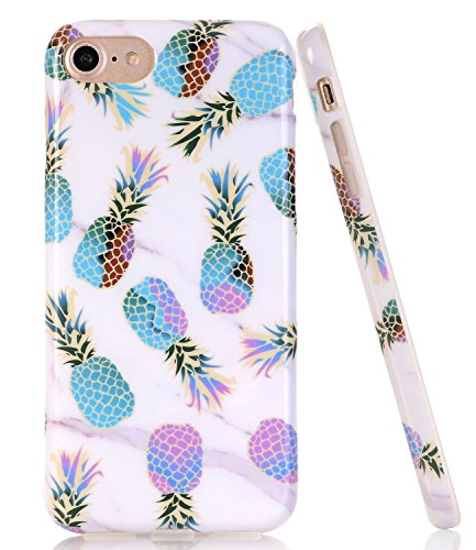 BAISRKE Marble Case with Colorful Pineapple Design Slim Black Bumper TPU Soft Rubber Silicone Cover Phone Case for iPhone 7 (2016) / iPhone 8 (2017) [4.7 inch]