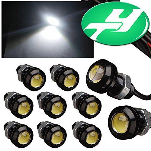 YINTATECH 10PCS Eagle Eye LED Lights 18mm 9W 12V High Power Daytime Running DRL Bump Grille Backup Fog Ligh Car Motor DIY Bulbs (White)