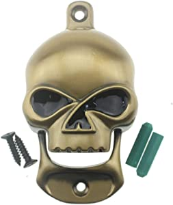 Stainless Alloy Skull Bottle Opener Wall Mount Heavy Duty for Beer Lover Home Décor Halloween Gifts (Aged-Gold)