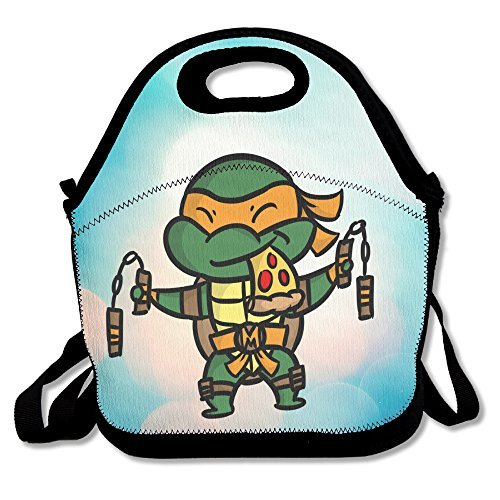 Kids George Washington Costumes Kit (Bakeiy Teenage Turtles Lunch Tote Bag Lunch Box Neoprene Tote For Kids And Adults For Travel And Picnic School)