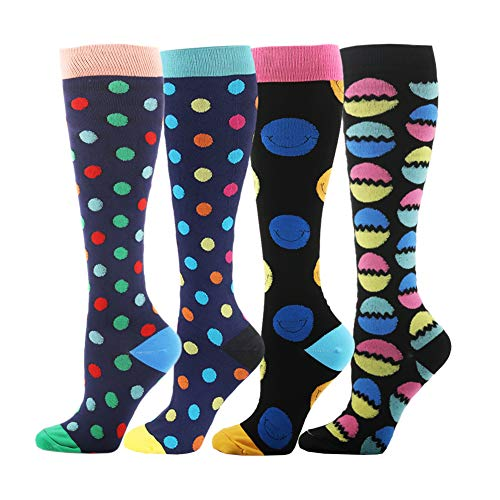 HLTPRO Compression Socks for Women & Men - 1 to 6 Pairs 20-30 mmHg Medical Support Knee High Compression Stockings for Travel, Running, Nurse, Shin Splints