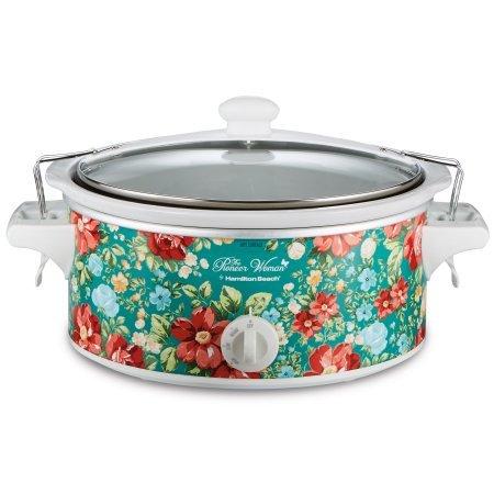 Vintage Floral Turquoise 6 Quart Portable Slow Cooker By Hamilton - Floral Setting