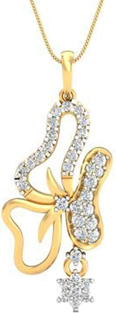 DTJEWELS 14K Yellow Gold Plated 1.2Ct Round Cut Sim Diamonds Flower Pendant with Chain for Women 925