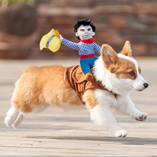 Patgoal Cowboy Rider Dog Costume for Dogs Clothes Knight Style with Doll and Hat for Halloween Christmas Holiday Day ()