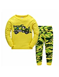 IWUXIA Boys Long Sleeve T shirt + Long Pants Pajama Set 100% Cotton Kids Toddler Sleepwear Pjs Clothes Pant Set Size 2-7T