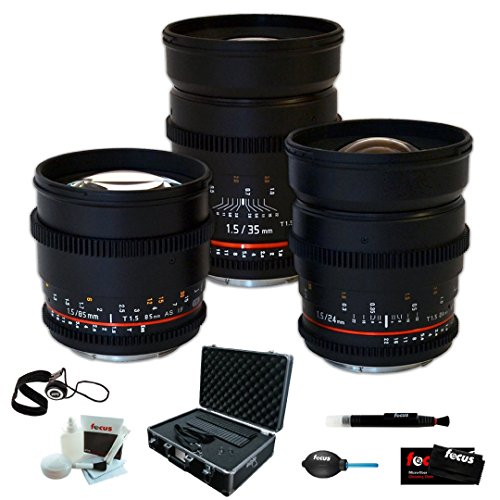 Rokinon Super-Fast T1.5 Cine 3 Lens Kit - 35mm + 24mm + 85mm for Sony NEX E-M... (Rokinon 35 For Sony compare prices)