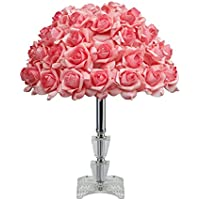 Table Lamps with Crystal Glass Holder and Pink Rose Shade Create a Welcoming Romantic Ambiance