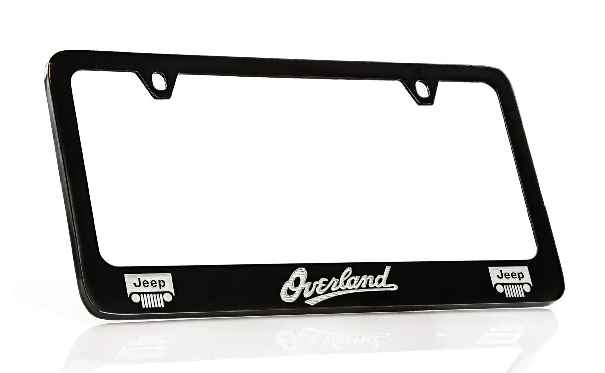 Jeep Overland Black Coated Metal License Plate Frame Holder Baronlfi