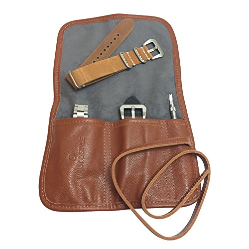 Leather Watch Roll by W&S for Travel and Storage for Watches: Pockets Securely Hold Watches Straps, Tools and Accessories (2-Slot Brown) (Roll Collection Travel)