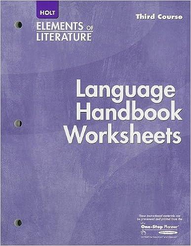 Printables Language Handbook Worksheets Answer Key Online elements of literature language handbook worksheet third course 1st edition