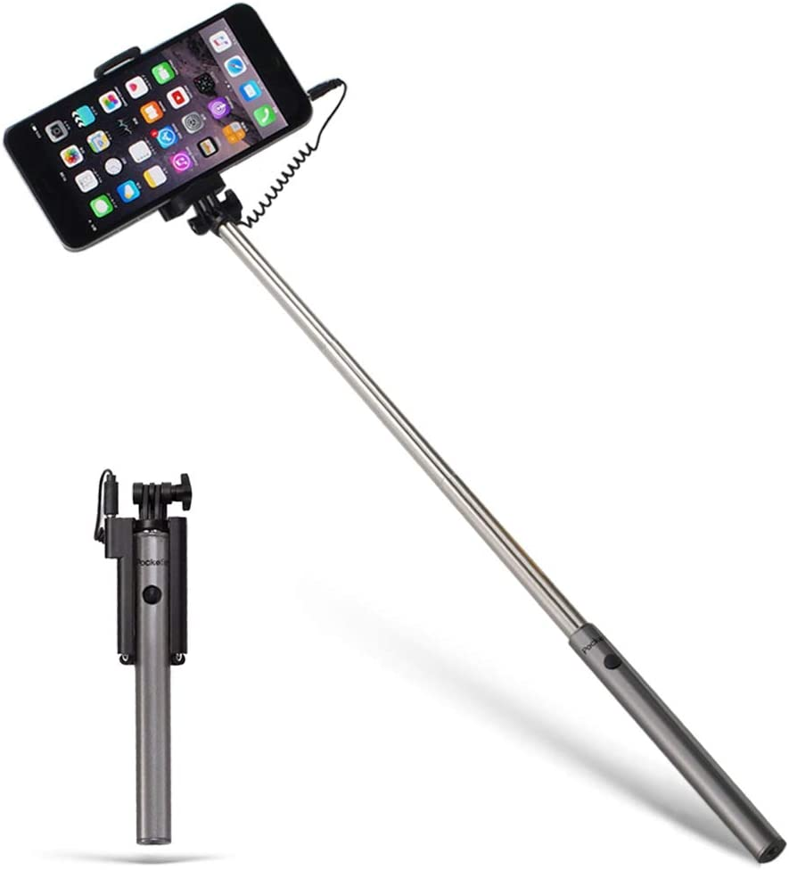 Pockefie Wired Selfie Stick Mini Battery-Free Non Bluetooth, Extendable Handheld Lightweight Compatible with iPhone Android Smartphones - Gray