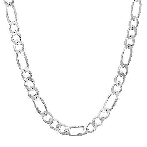 5.6mm 925 Sterling Silver Nickel-Free Flat Figaro Link Chain or Bracelet - Made in Italy + Bonus Cloth 15V8G3F8tP