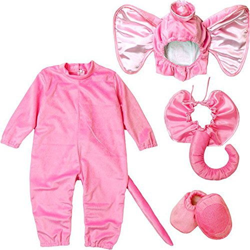 Baby Animal Costume, Deluxe Cute Toddler Halloween Shark/Owl/Dog/Penguin/Chicken/Dinosaur/Lion/Monkey Cosplay Outfit Infant Photography Prop (Tag Size 100, Pink Elephant)