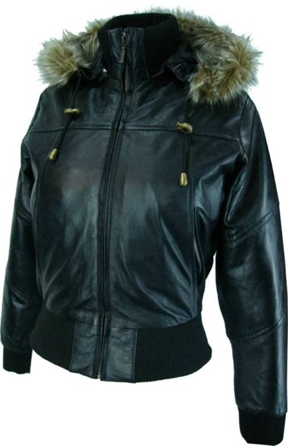 Womens Hooded bomber jacket - Real Leather Jacket- Black # M1 ...